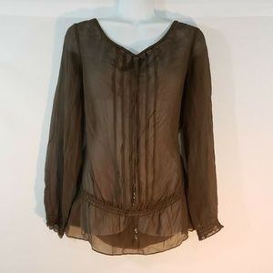Ann Taylor Women Top Silk Sheer Size 6 Tunic brown